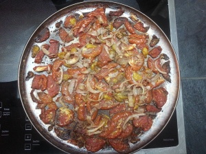 Roasted tomatoes, garlic, and onions...