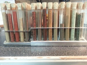 My spice rack. There are actually 75 different test tubes. I have a couple that are empty for my own mixes.
