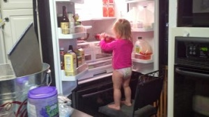 She decided to instead grab a chair to use to get things out of the fridge...