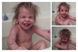 Part of a victory dance in the tub for getting a smiley face drawn on her arm in soap...