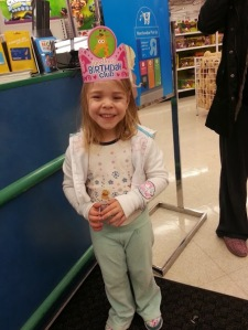 Going on her Birthday shopping spree at Toys R  Us....