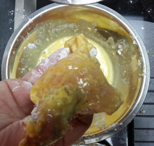 Chicken tender after being egged...