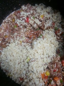 Rice being mixed in...