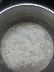 Flour....I had a helper add flour to the mushroom soup. I thawed another jar of the soup quickly...