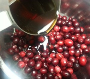Cranberries and maple syrup...