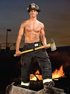 The hot shirtless fireman wielding an axe...