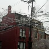 Ice on the power lines.