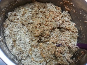 Blending the peanut butter molten lava to the oat mix....