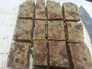 Mixed berry and dark chocolate granola bars....