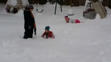 Yes, the snow is up past the teenagers knees.