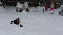 Oldest decided to try and make a snow angel.