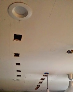 These are just some of the holes that had to be put in our ceiling.