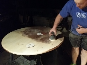 Sanding my kitchen table at night (about midnight actually) in 80 degree weather....