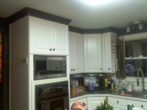 Wall oven area with microwave....