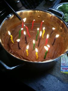 19 candles in a pot of chocolate pudding....