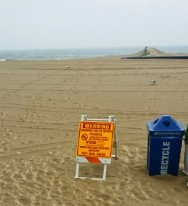 Beach closed do to high bacteria and fecal matter...